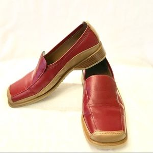 Wanted Loafer Shoes Red Tan Leather Square Toe 6.5